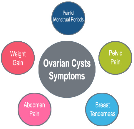 Ovarian Cysts Symptoms, Painful Menstrual Periods, Pelvic Pain, Breast Tenderness, Abdomen Pain, Weight Gain